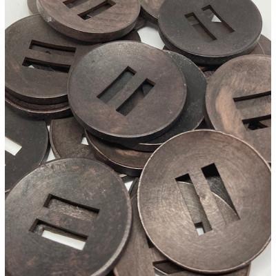Mørkebrun Træknap 28mm 2 huller