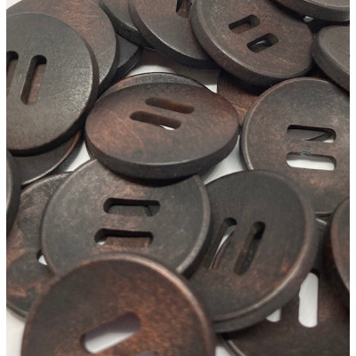 Mørkebrun Træknap 38 mm 2 huller