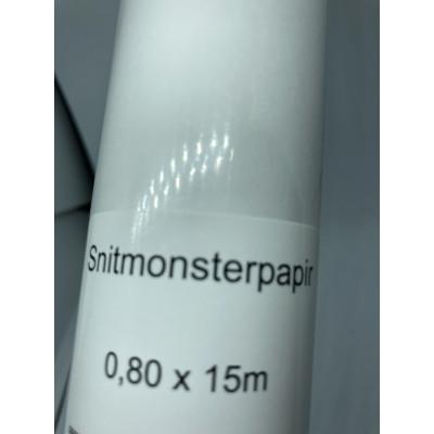 Mønsterpapir 0,80cm x15mtr - 1 rulle - Hvid