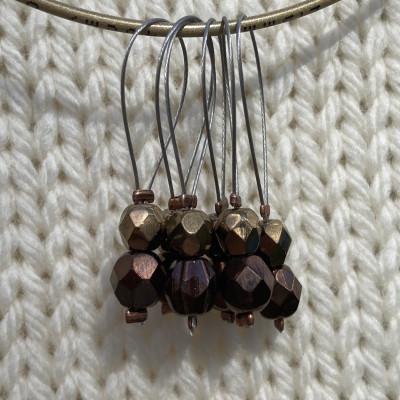 Cobberfarvet/brun/guld maskemarkør 6 stk